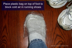 plastic bag on top of foot to block cold air in running shoes, FootScribe.me